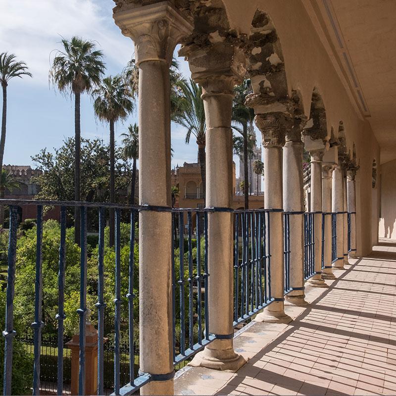 Vista de los Jardines del Alcázar de Sevilla y de los Arcos